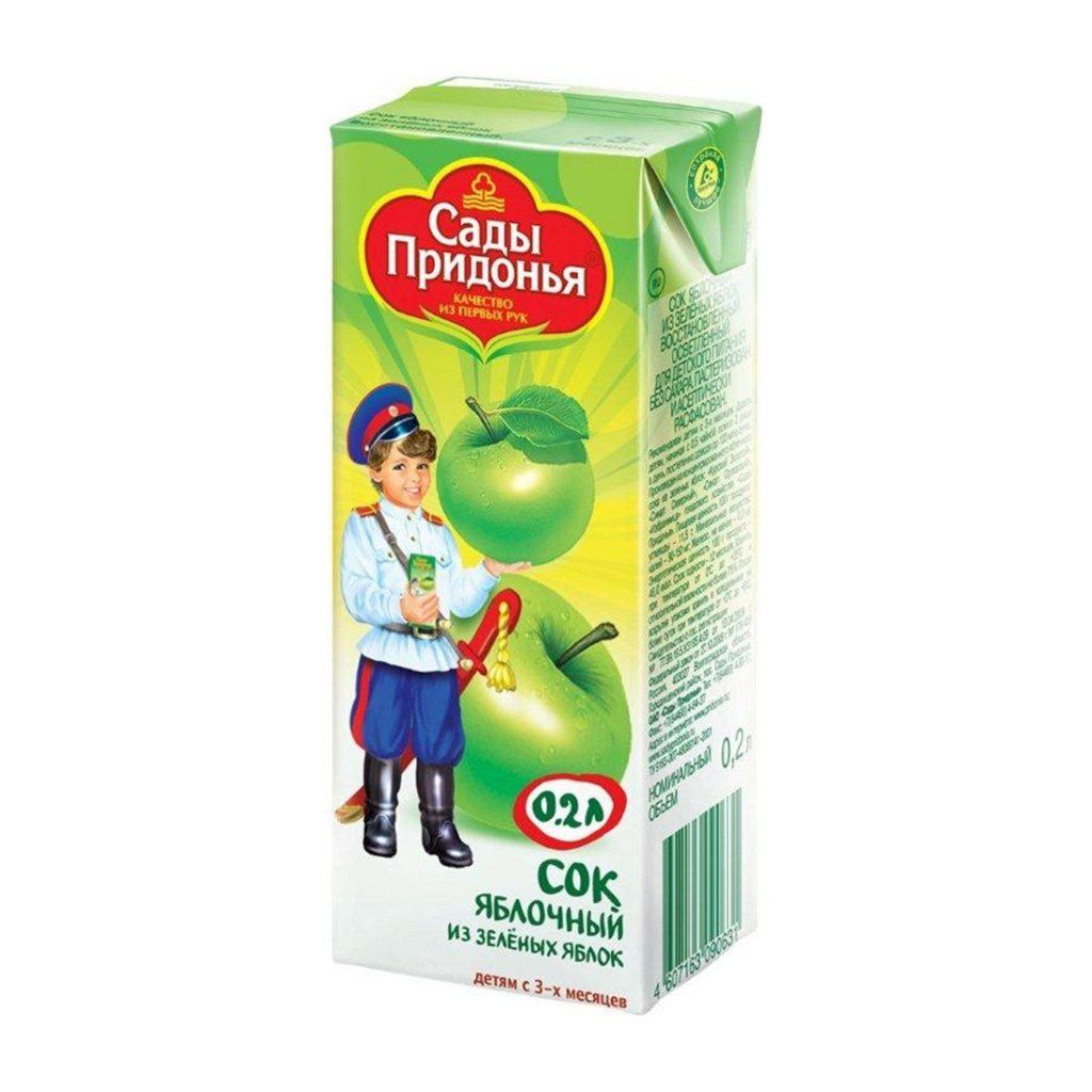 Сок Сады Придонья ябл. из зел.ябл. 0,2 л