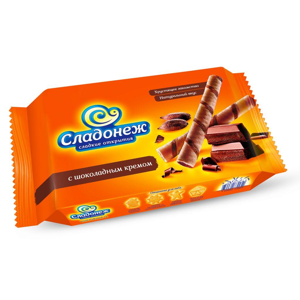 Вафельные трубочки Сладонеж с шоколадным кремом 175гр, шт