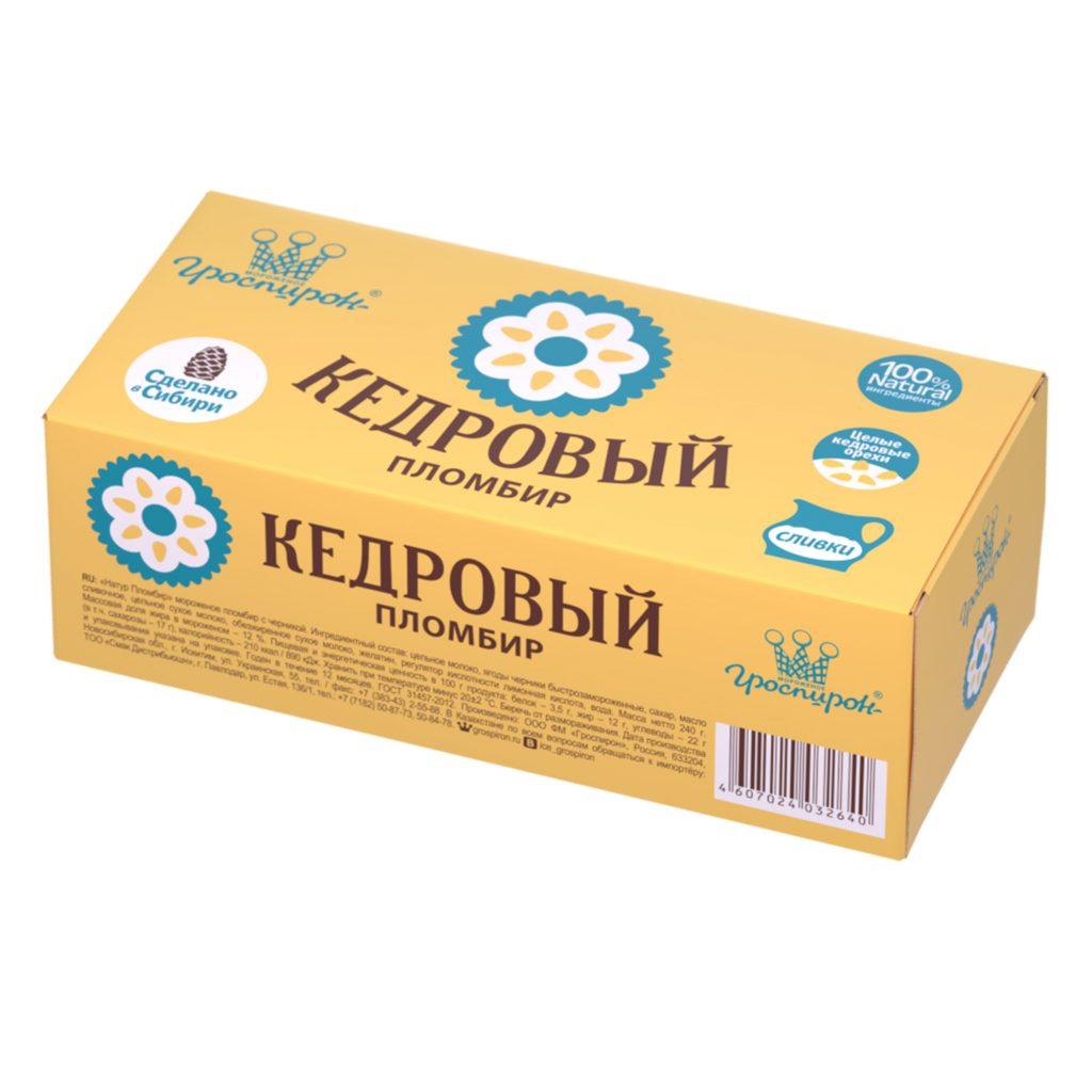 БЗМЖ Мороженое Натур Пломбир брикет на вафлях с кедровыми орехами  15% 240г