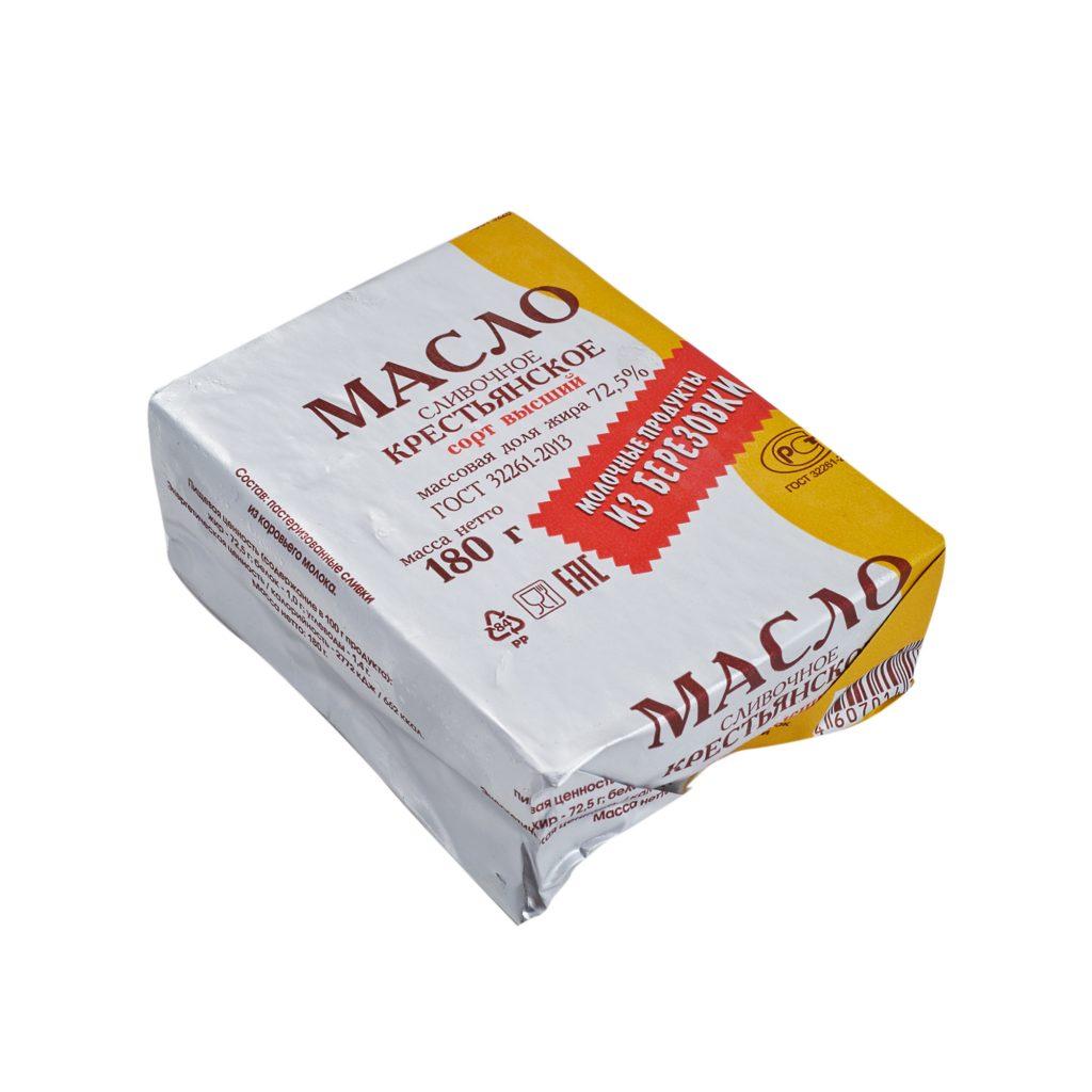 Масло сливочное Из Березовки  72,5% 180гр фольга, шт
