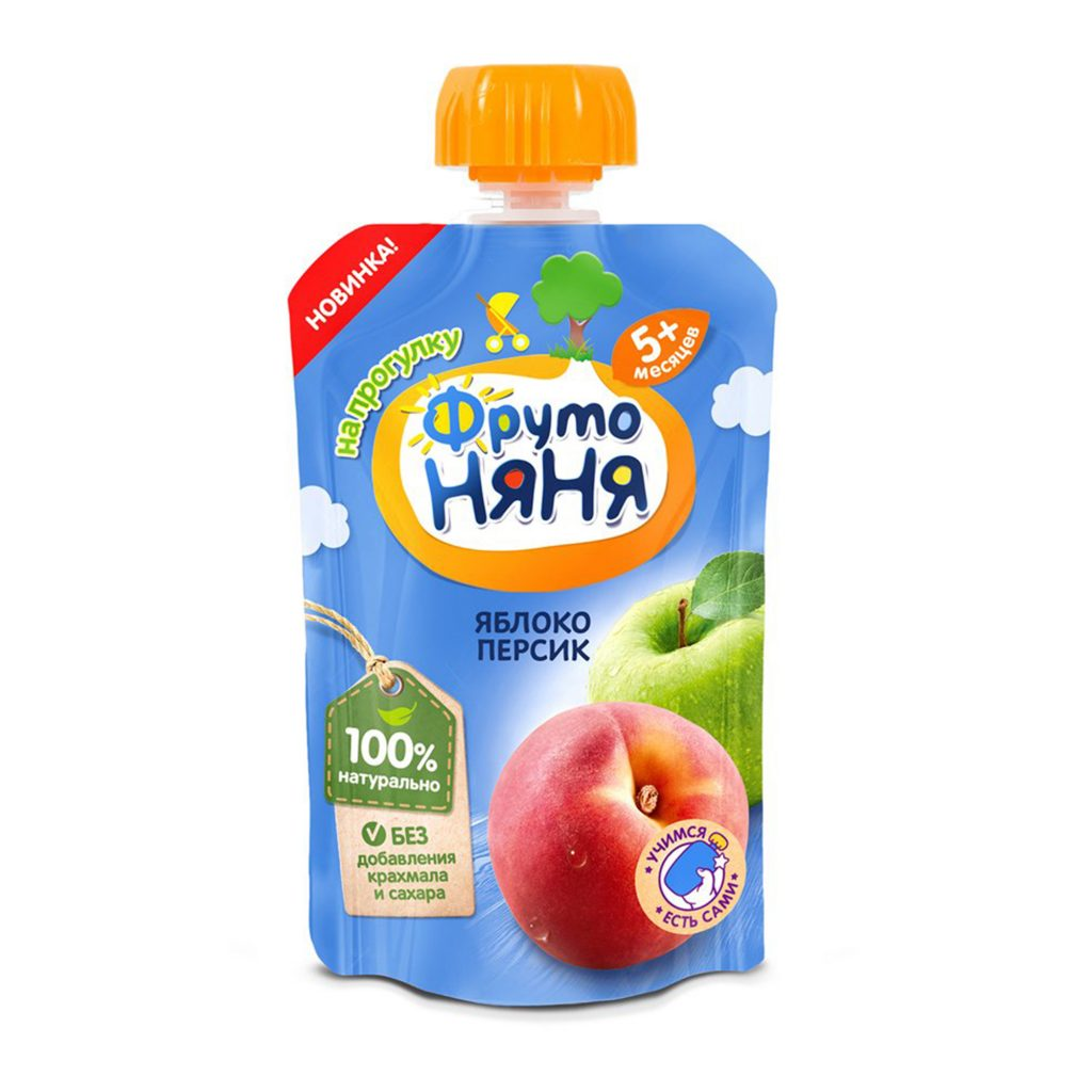 Пюре ФрутоНяня Яблоко, персик натуральное  д/п 90г