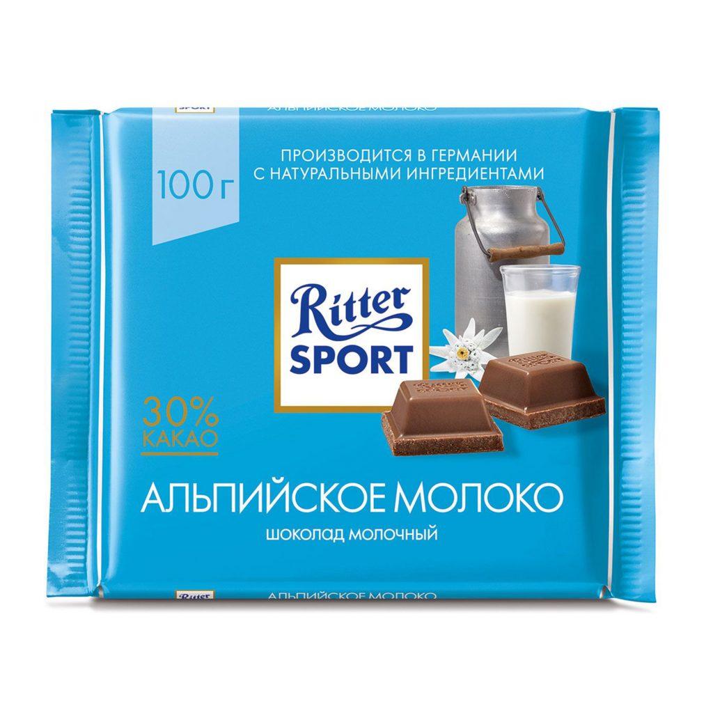 Шоколад молочный Ritter Sport с альпийским молоком 100г