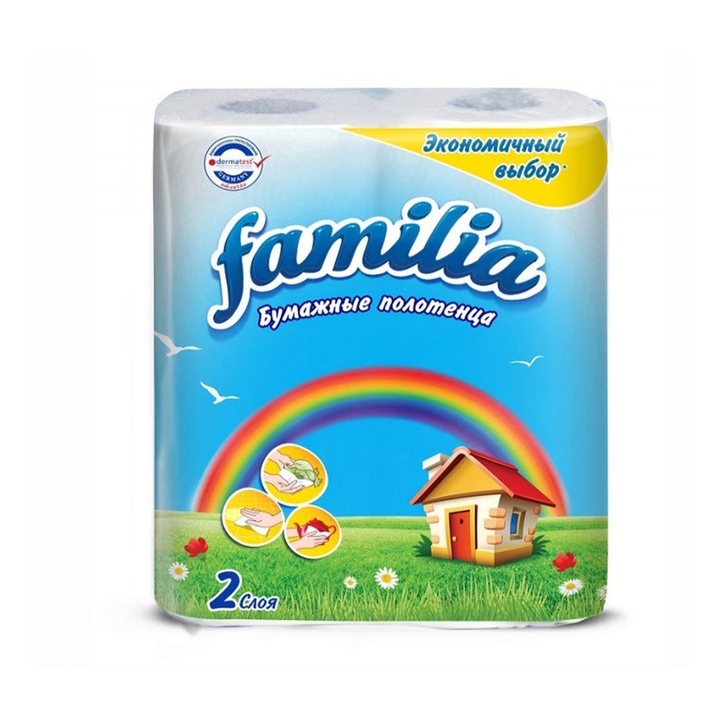 Полотенце бумажное 2сл (2 рул) белое в рулоне FAMILIA  1/10уп