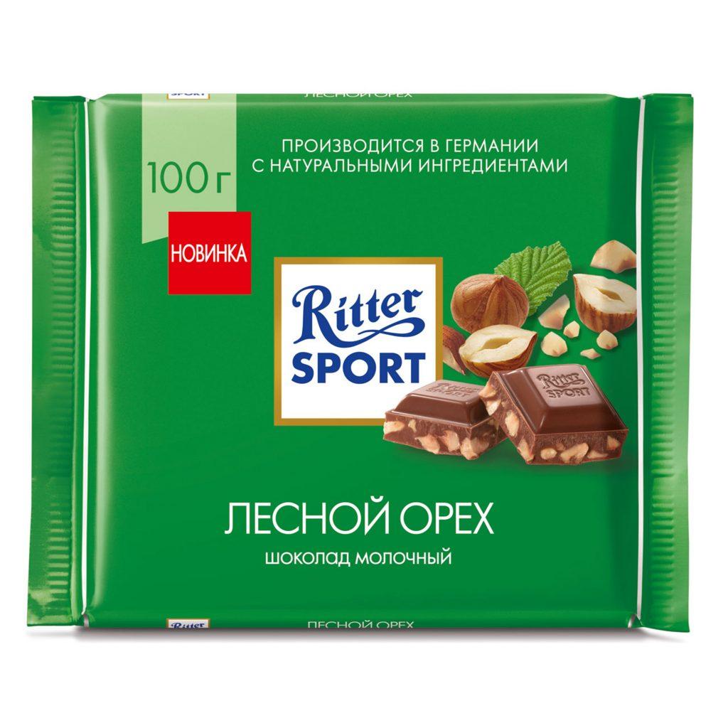 Шоколад молочный Ritter Sport с обжар. орехом лещины 100г
