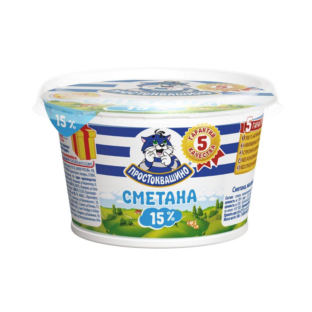 БЗМЖ Сметана Простоквашино 15% 180гр стакан