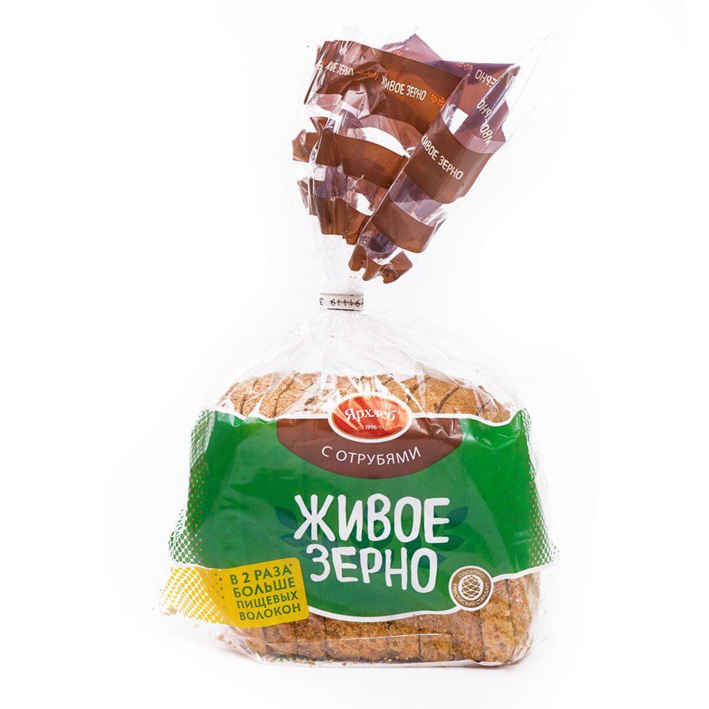 Хлеб из зерна пшеницы с отрубями ЖИВОЕ ЗЕРНО нарезка 600г ЯрХлеб40811