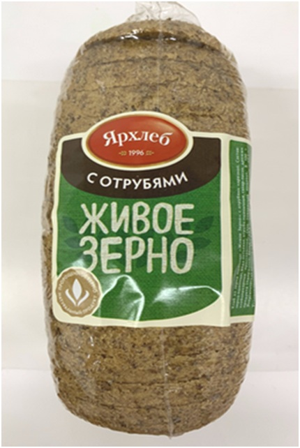 Хлеб из зерна пшеницы с отрубями ЖИВОЕ ЗЕРНО нарезка 600г ЯрХлеб