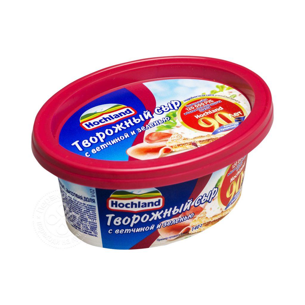 БЗМЖ Сыр творожный  Хохланд с ветчиной и зеленью 60% 140г (ванночка)