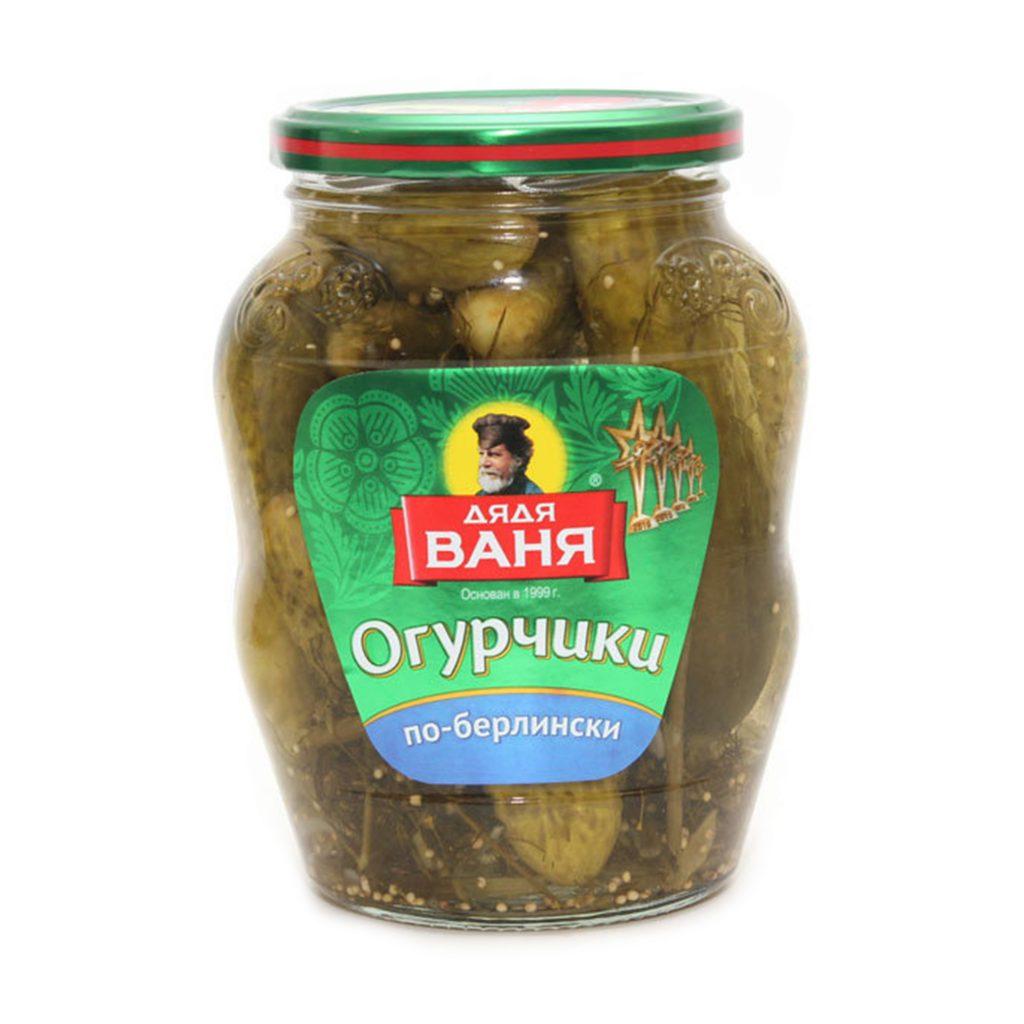 Огурцы Дядя Ваня маринованные По-Берлински 350гр ст/б