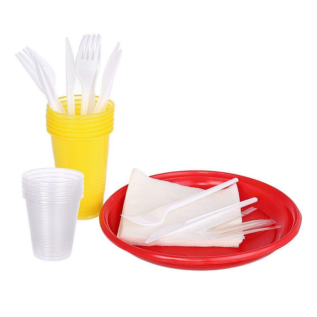 Набор на 5 персон СЕМЕЙНЫЙ (тарелки, стаканы 500мл стаканы 200мл, нож, вил, салф), ТМ ПОЛЯНА 1/35уп