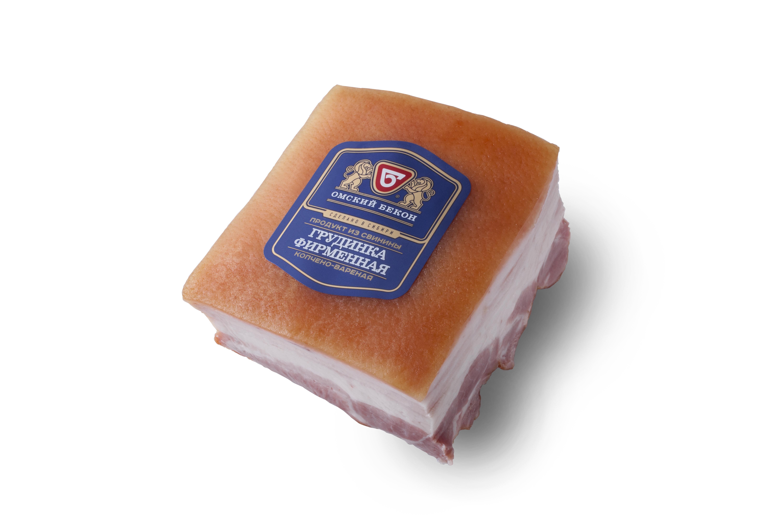 Грудинка свиная к/в, в/у порц.Омский бекон, кг