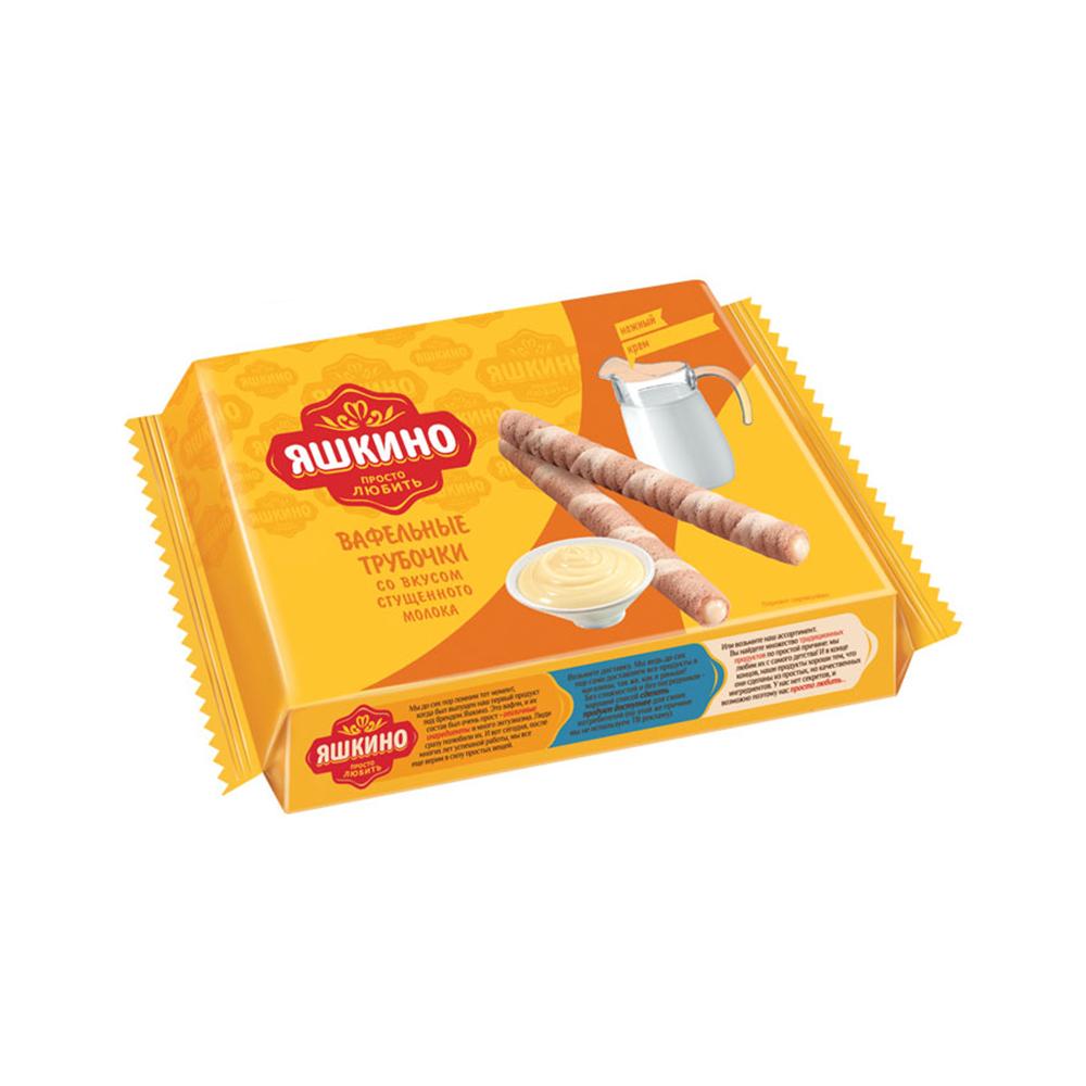 Трубочки вафельные Яшкино 190г Со вкусом сгущ.молоко