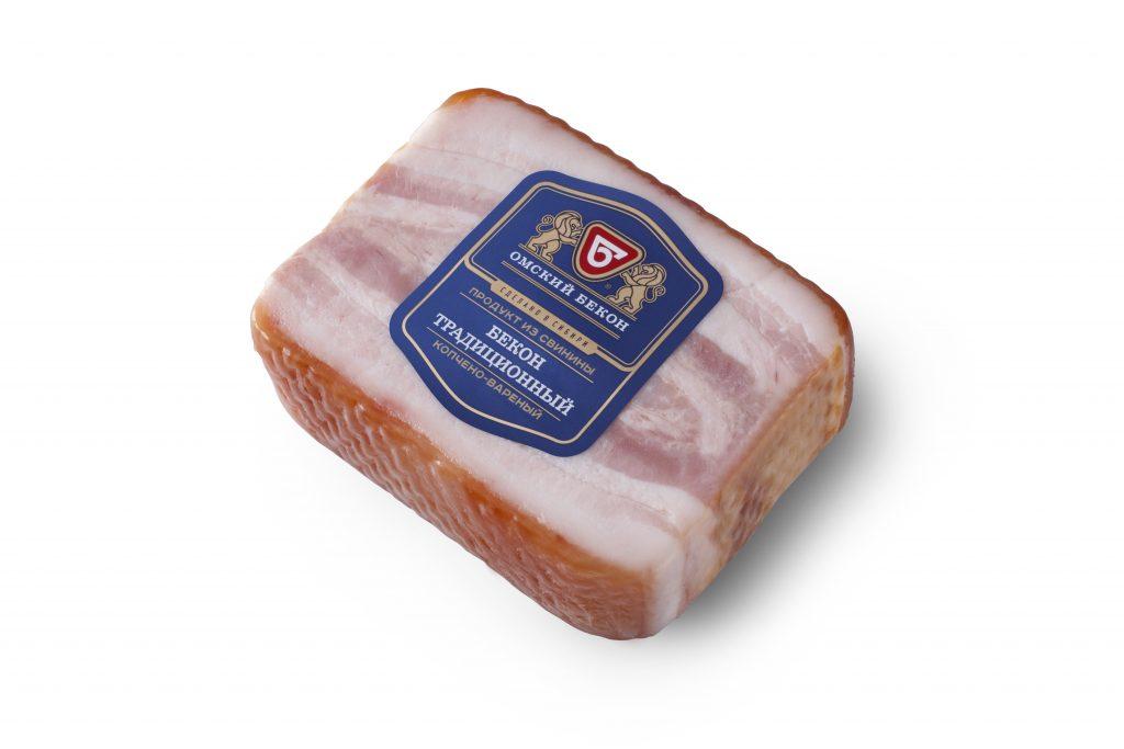БеконТрадиционный из свинины к/в 300гр. Омский бекон