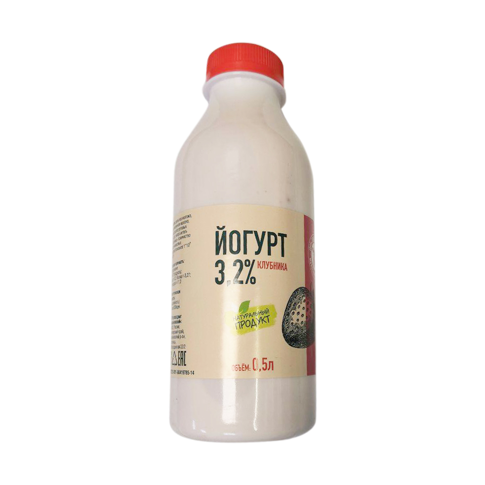 БЗМЖ Йогурт питьевой клубника 3,2% 500гр Творогово