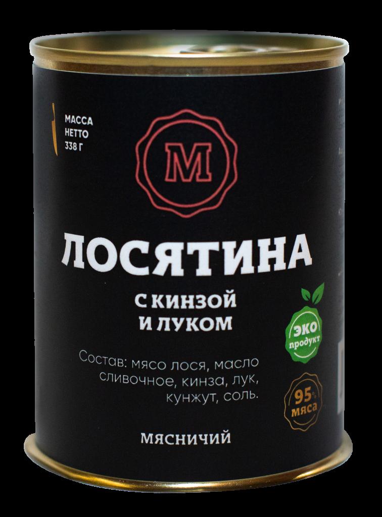 Мясо Лося с кинзой, сливочным маслом и луком 338 г. ж/б ТМ Мясничий31899