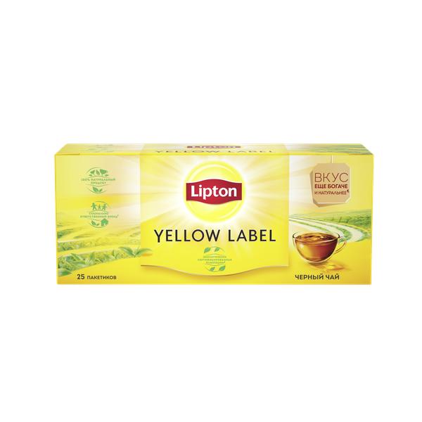 Чай Липтон черный Желтая марка 2гx25