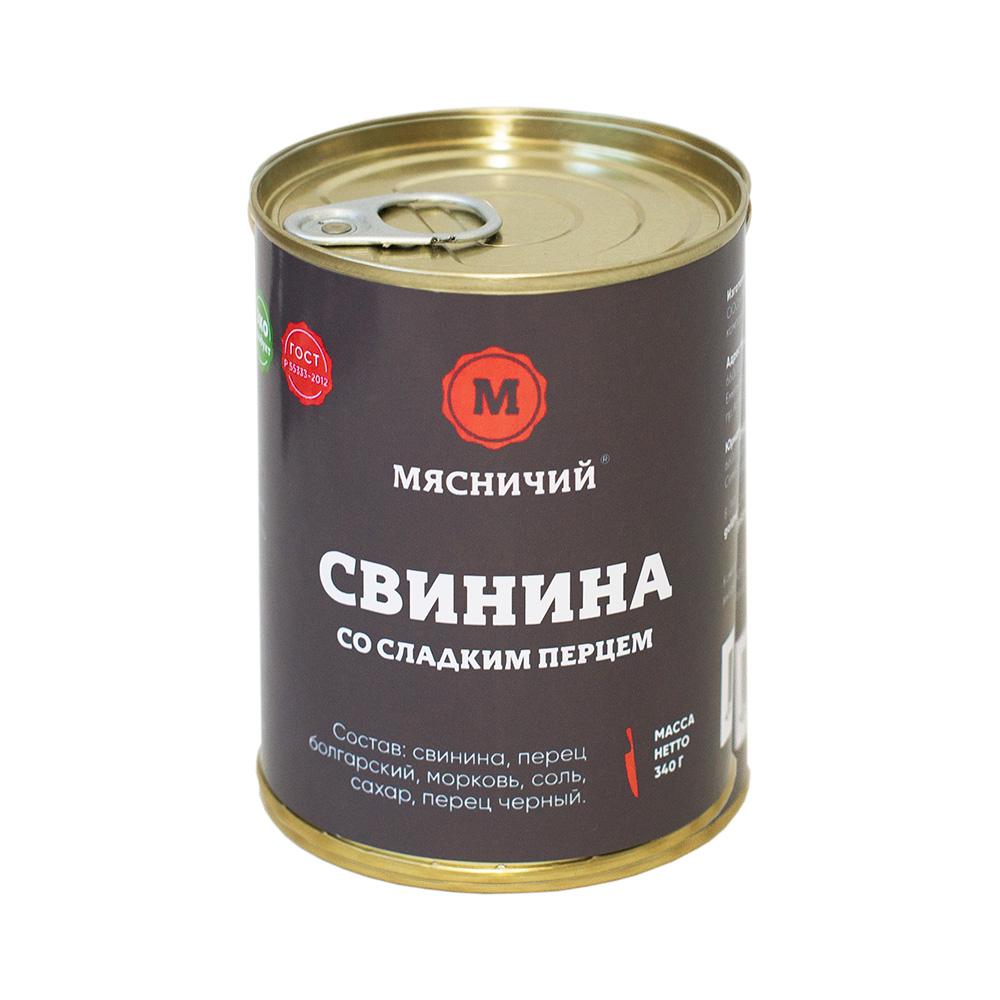 Свинина со сладким перцем 340 г. ж/б ТМ Мясничий