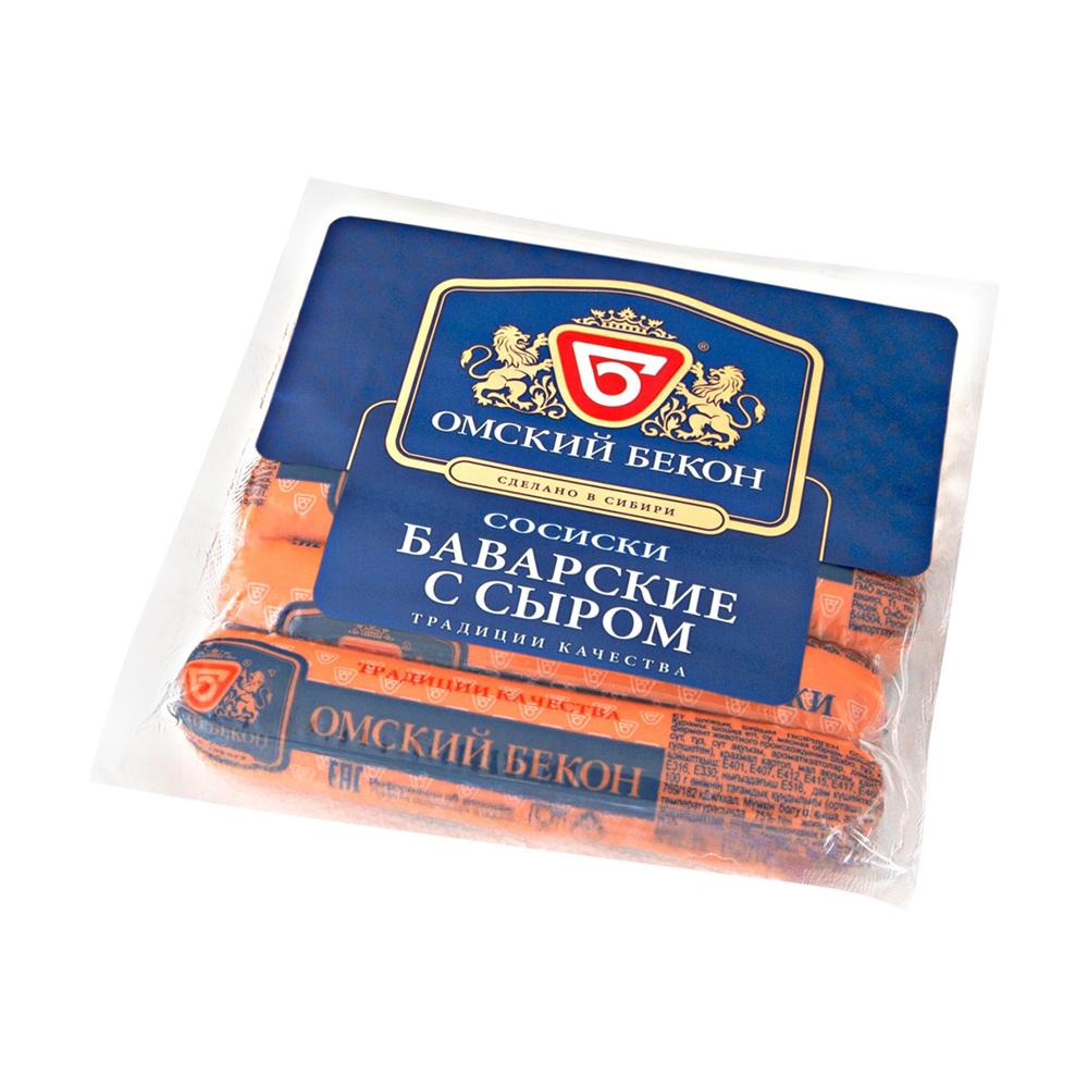 Сосиски Баварские с сыром 540гр,Омский бекон,шт