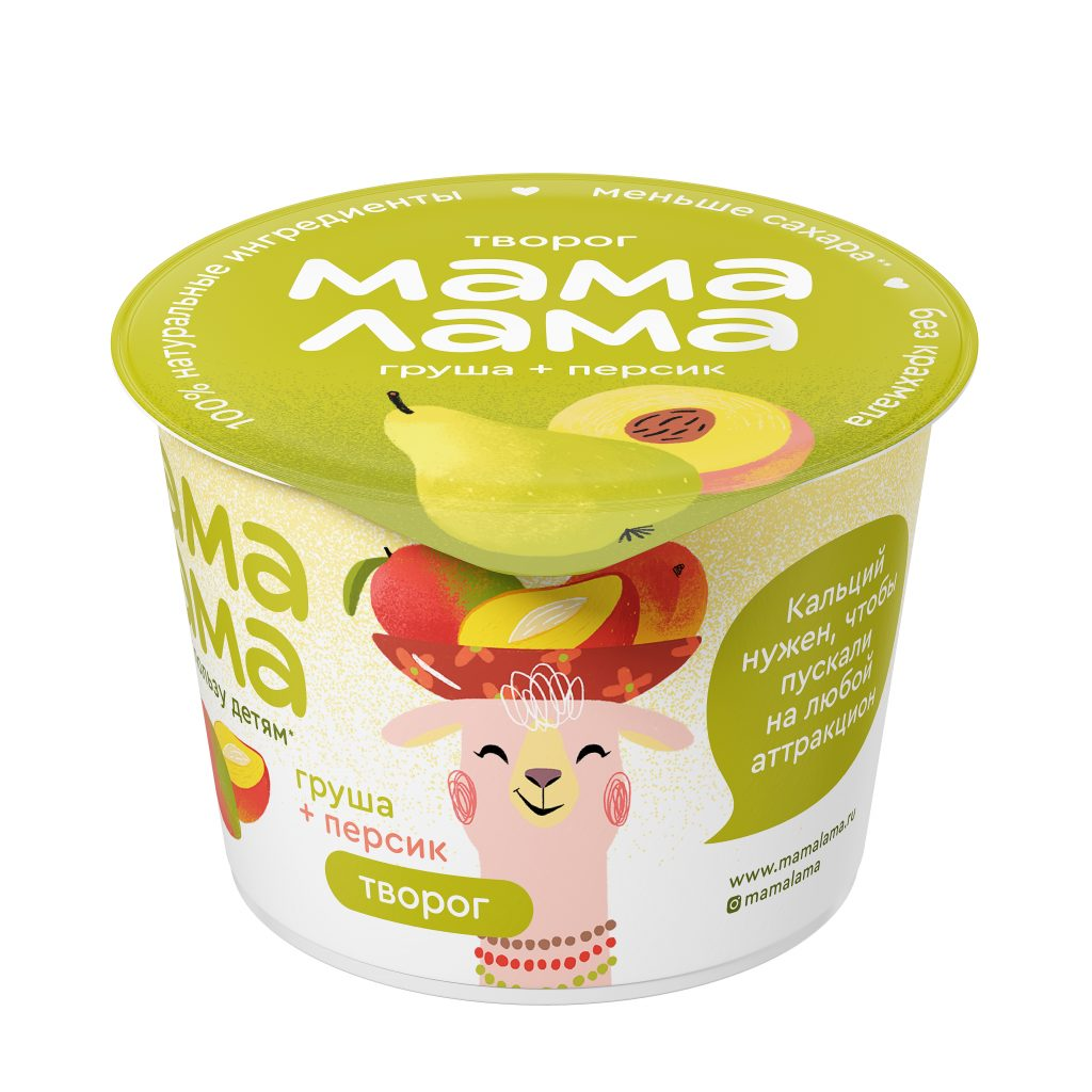 Творог Мама Лама персик-груша 3,8% 100гр.