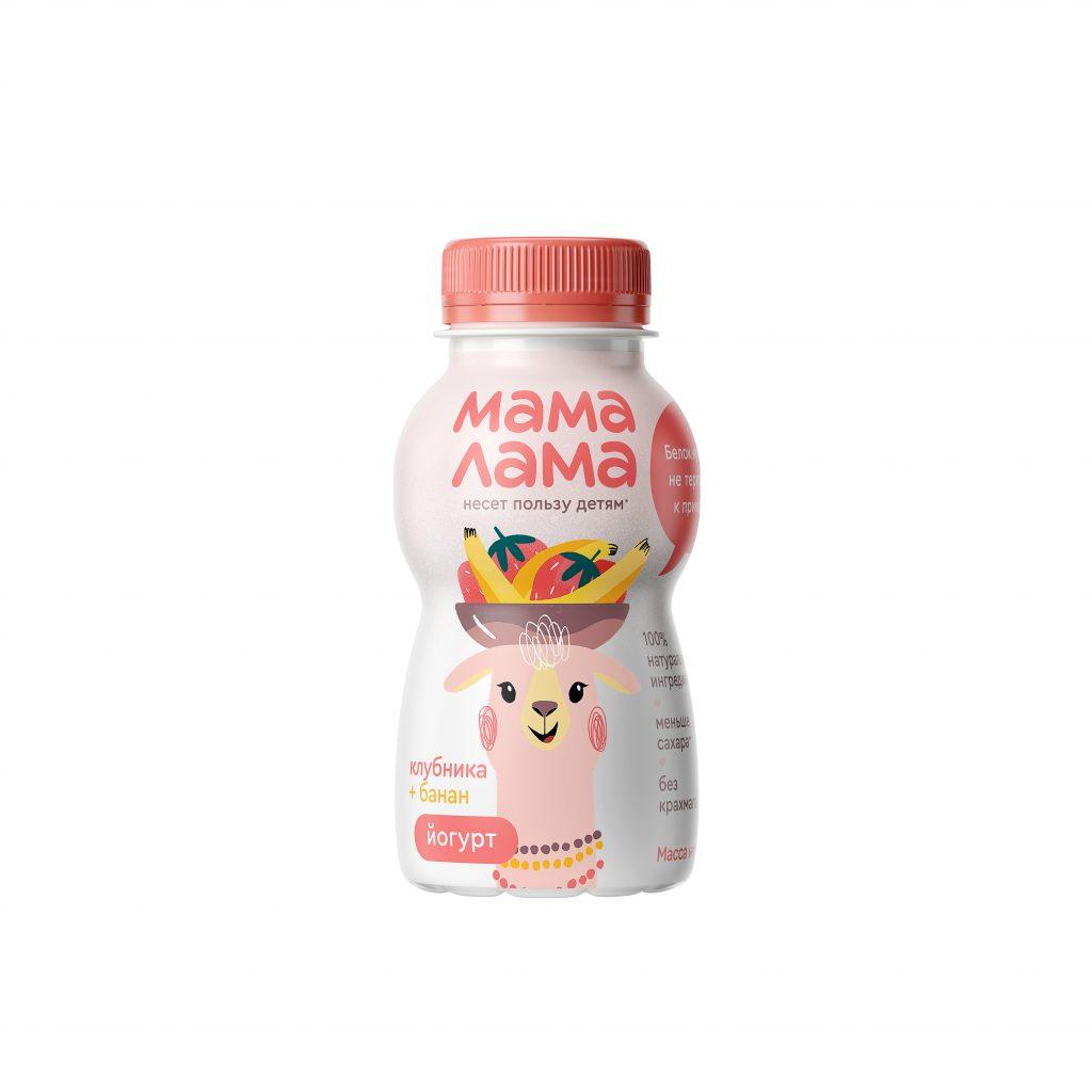 Йогурт питьевой Мама Лама клубника -банан  2,5% 200гр