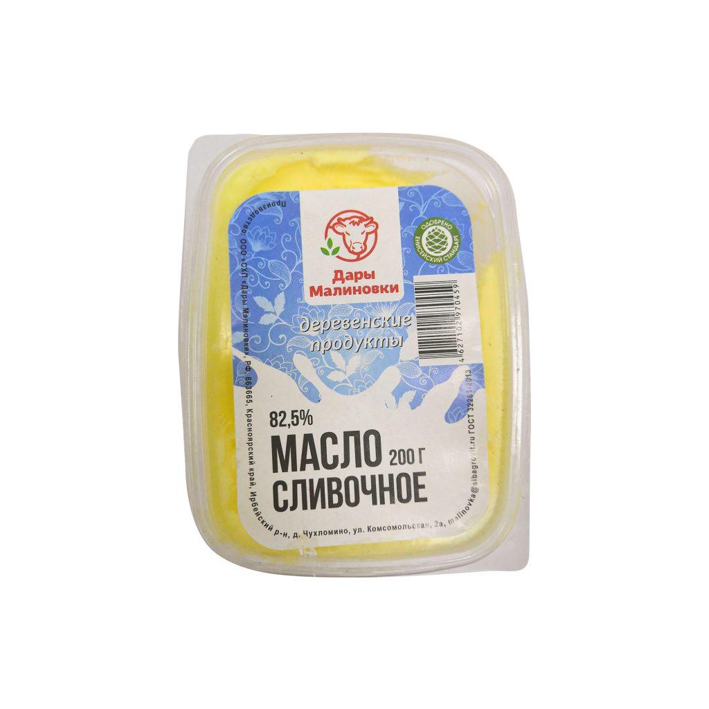 БЗМЖ Масло сливочное  Дары Малиновки 82,5% , 200гр