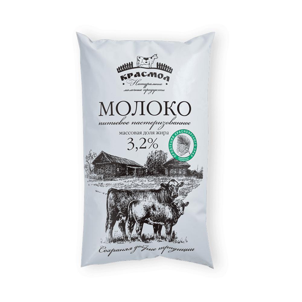 БЗМЖ Молоко питьевое Красмол 3,2% 900мл п/п