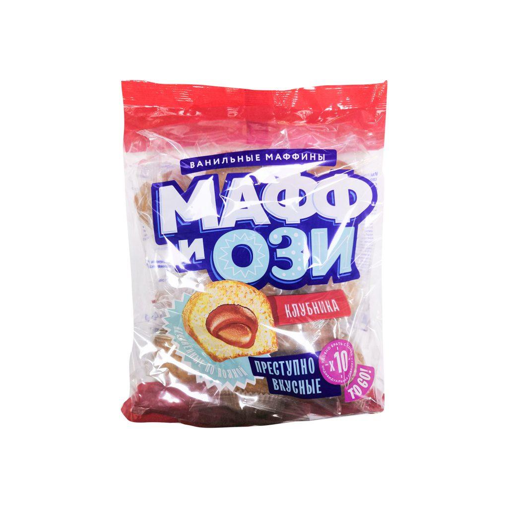 Маффин ванильный с клубничной начинкой  450 г / 6шт