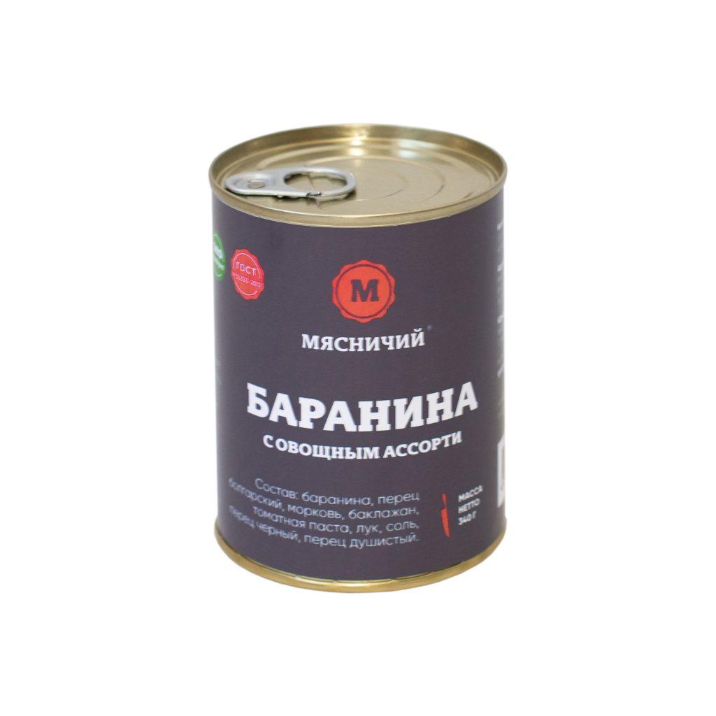 Баранина тушеная с овощным ассорти 340гр ж/б Мясничий97984