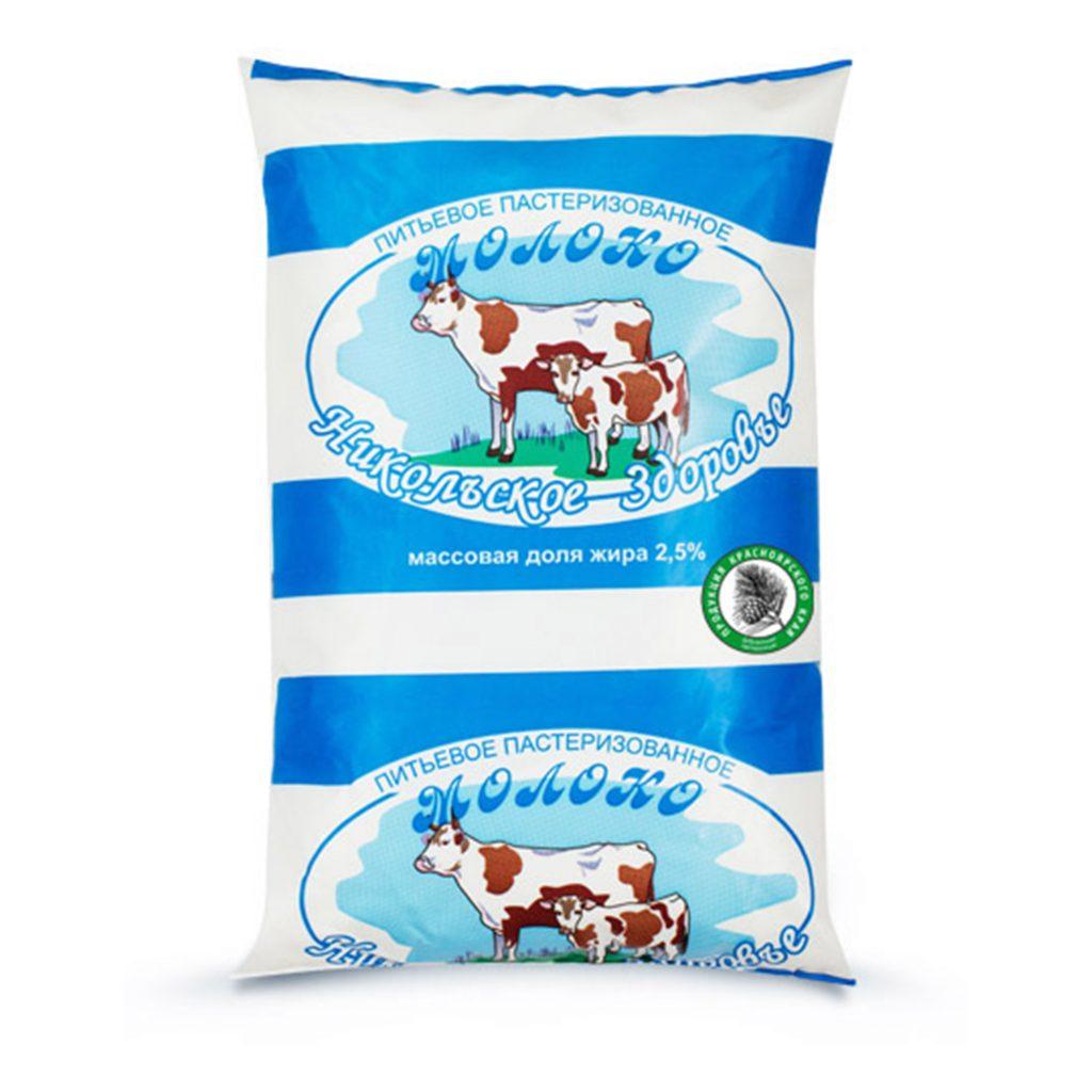 Молоко Никольское пастеризованное 2,5% 900мл п/п