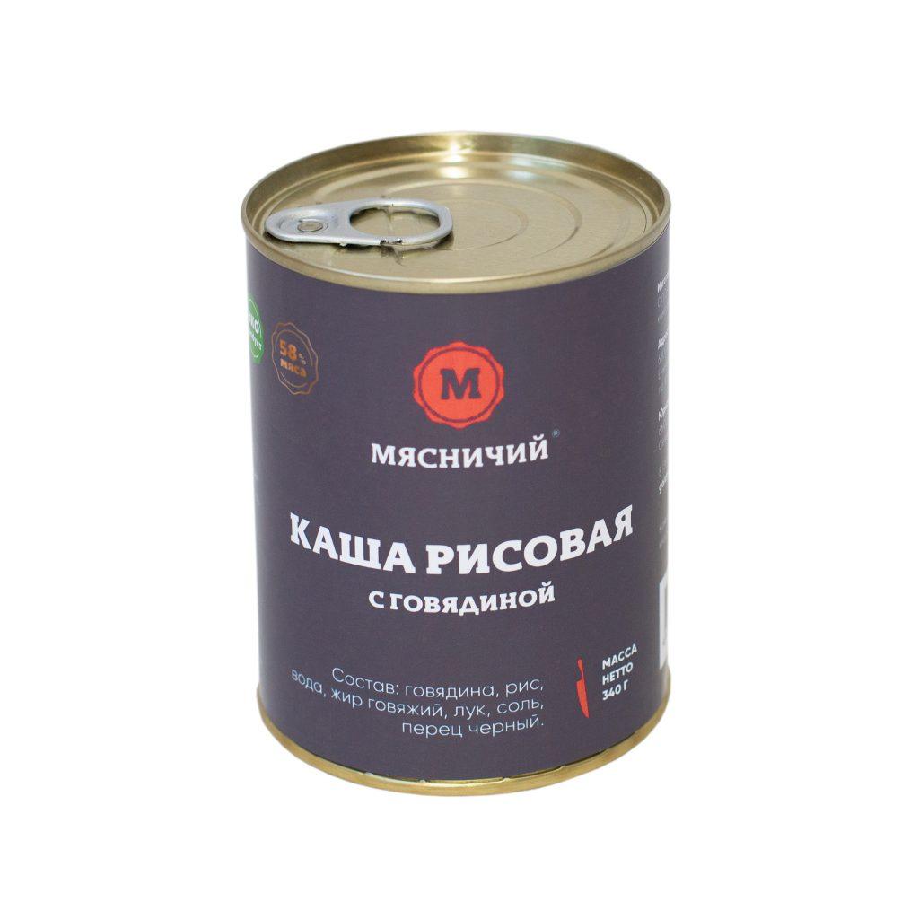 Каша рисовая с говядиной 340гр ж/б Мясничий86423