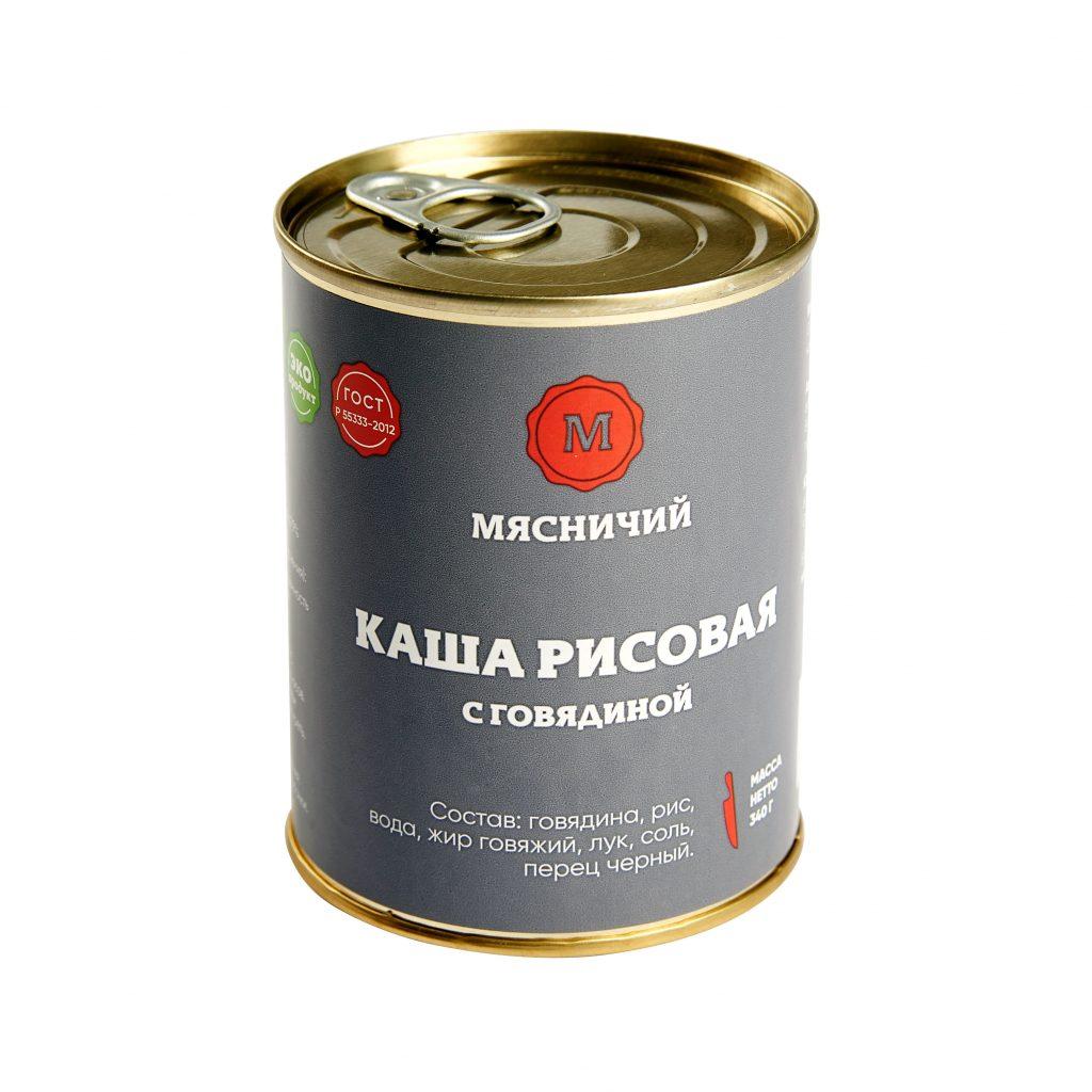 Каша рисовая с говядиной 340гр ж/б Мясничий86424