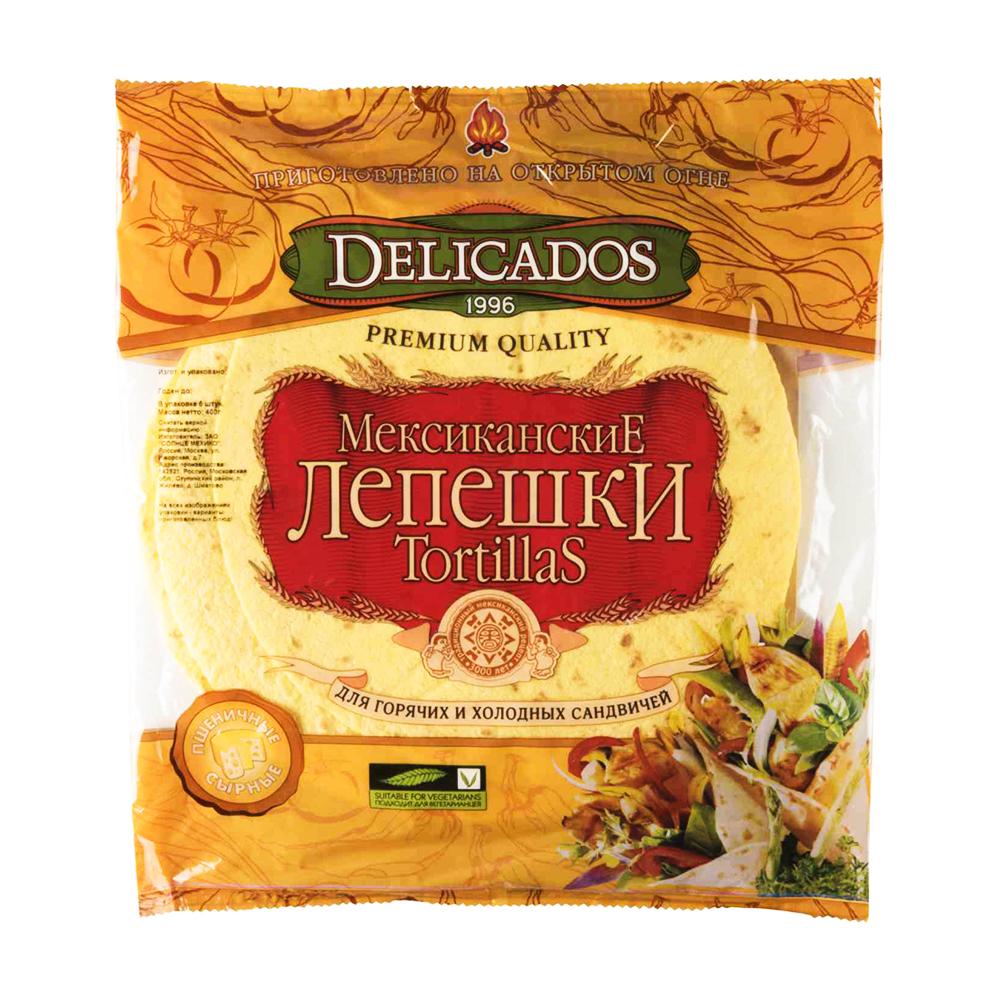 Тортилья пшеничная Мексиканская со вкусом сыра 400гр Деликатос