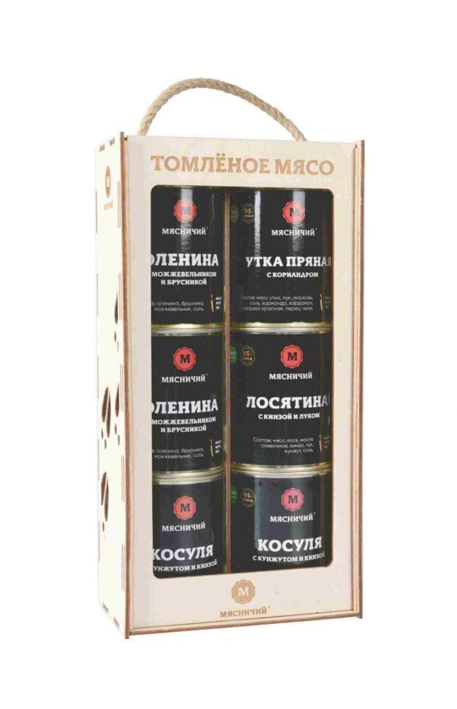 Коробка пенал подарочный Мясничий 310*155*76 (на 6 банок) ,шт